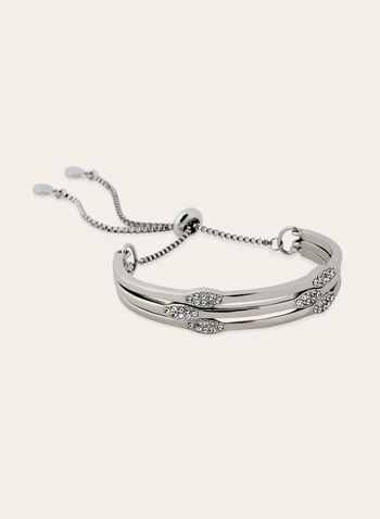 Triple Crystal Detail Slider Bangle , Silver, hi-res