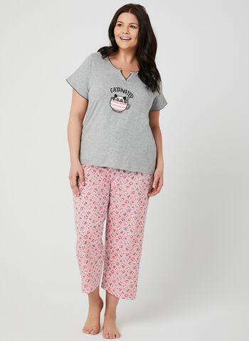 René Rofé - Pyjama 2 pièces à motif chat et café, Rose, hi-res,  pyjama, t-shirt, capri, chats, café, printemps 2019