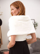 Faux Fur Stole With Buckle, Off White