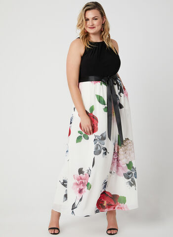 Cleopatra Neck Maxi Dress, White, hi-res,  gown, floral gown, floral print, long dress, evening gown, halter neck