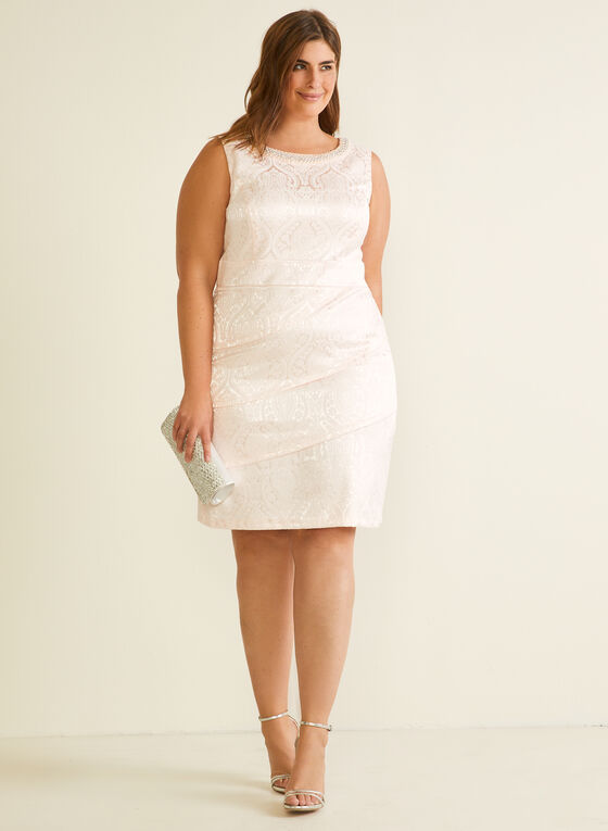 Rhinestone Neckline Brocade Dress, Pink
