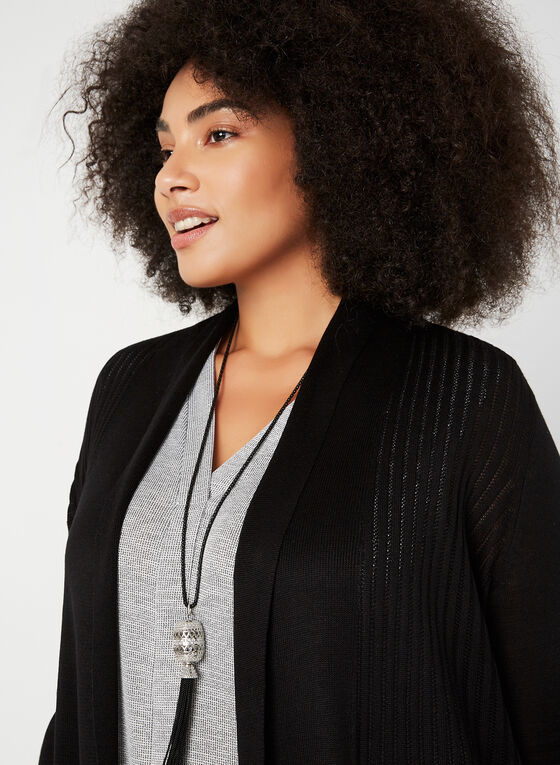 Open Front Knit Cardigan, Black, hi-res