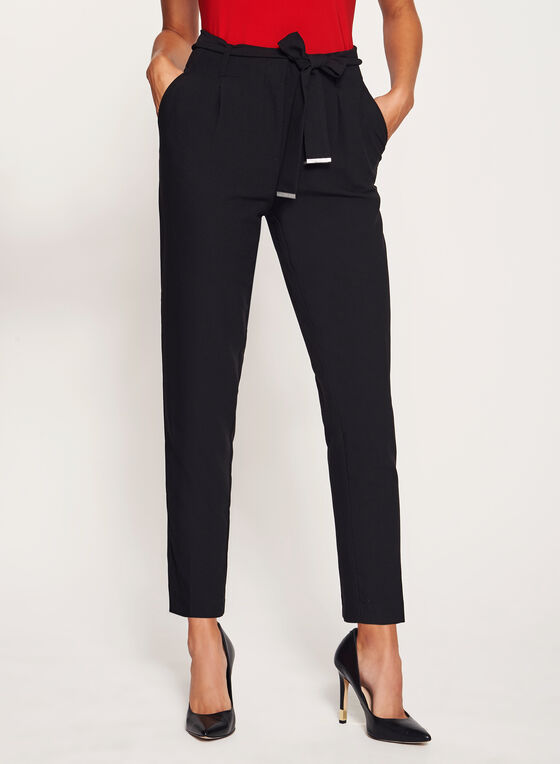 Tie Belt Straight Leg Pants, Black, hi-res