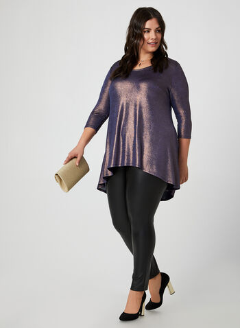 Metallic Tunic, Blue, hi-res,  canada, 3/4 sleeves, top, tunic, metallic, metallic top, glitter, holiday, fall 2019, winter 2019