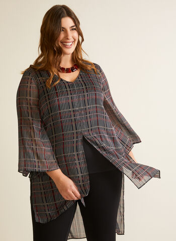 Tartan Print Slit Blouse, Black,  top, blouse, tunic, tartan, fall winter 2020