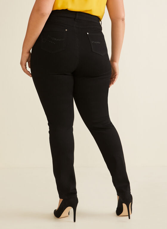 High Rise Straight Leg Jeans, Black