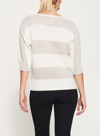 Pull tricoté à rayures contrastantes et lurex, Blanc, hi-res