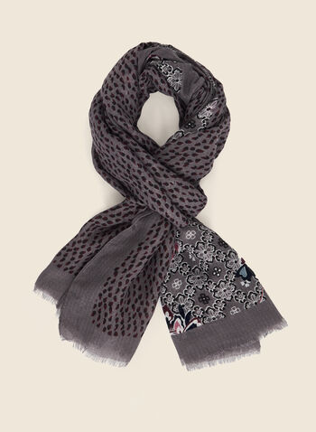 Abstract Floral Print Lightweight Scarf, Grey,  scarf, lightweight, floral, fall winter 2020