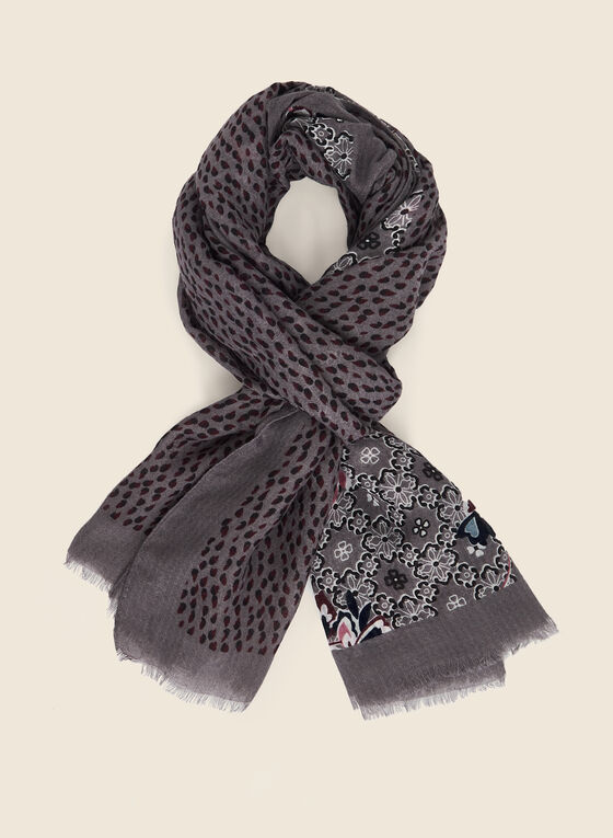 Abstract Floral Print Lightweight Scarf, Grey