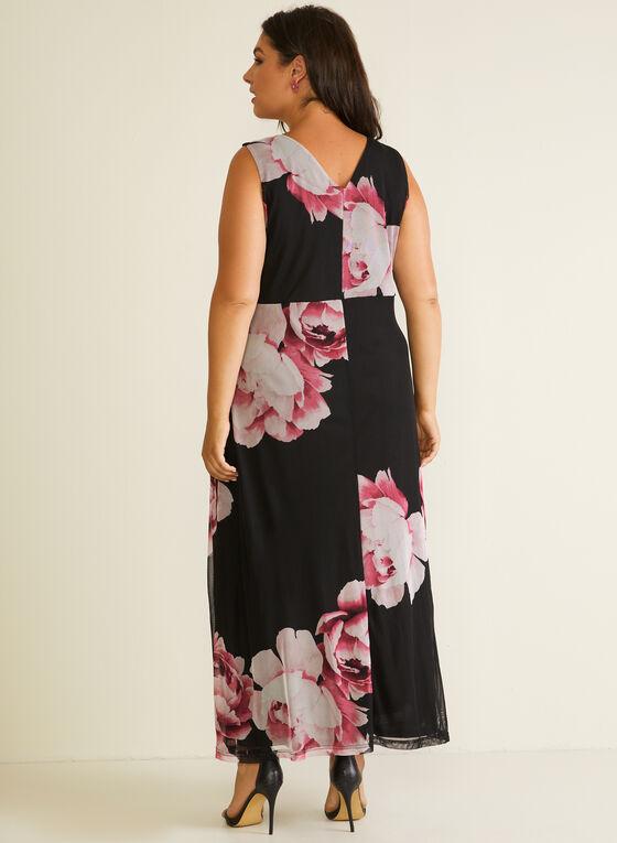 Robe maxi fleurie à détail noué, Noir