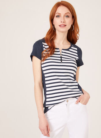 Stripe Print Cotton T-Shirt , Blue, hi-res