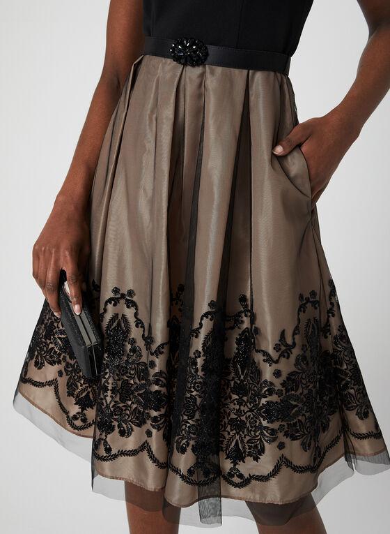 Sleeveless Taffeta Dress, Black