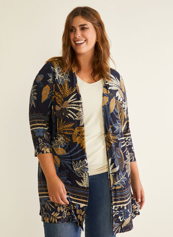 Tropical Print Open Front Top, Blue,  top, open front, 3/4 sleeves, tropical, spring summer 2020