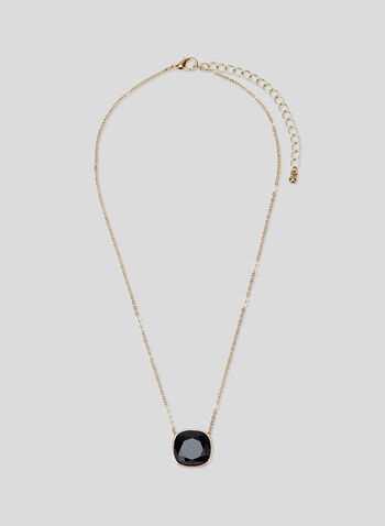 Faceted Stone Pendant Necklace, Black, hi-res