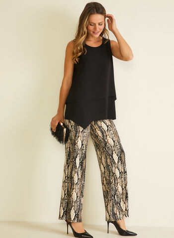 Snake Print Wide Leg Pants, Black,  pants, pull-on, wide leg, snake print, jersey, spring summer 2020