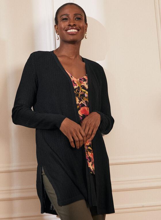 Open Front Long Sleeve Cardigan , Black