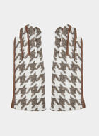 Houndstooth Print Gloves, Off White