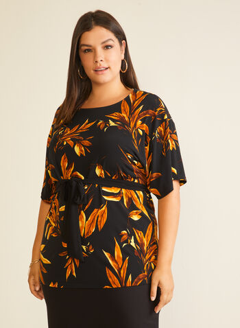 Leaf Print Belted Top, Black,  top, kimono, leaf print, belt, jersey, fall winter 2020