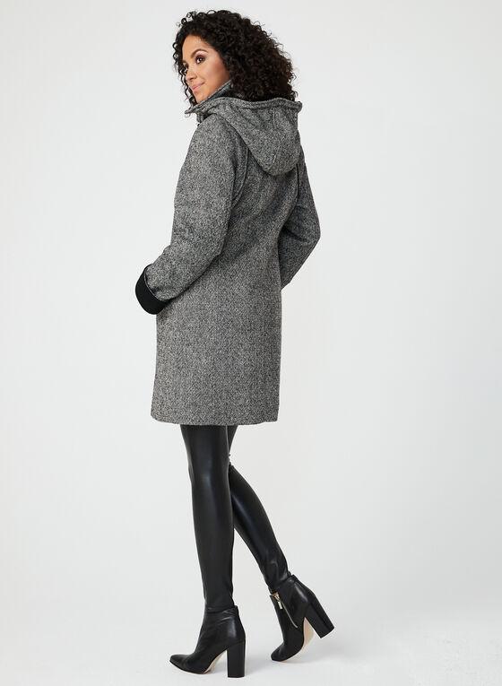 Hooded Wool Blend Coat, Black