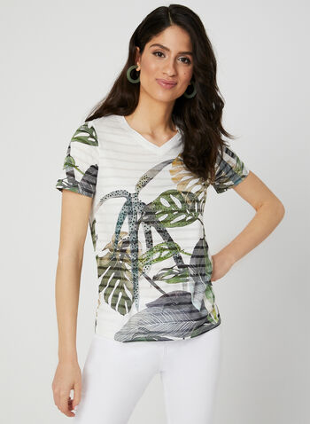 V-Neck Burnout T-Shirt, Green, hi-res,  Spring 2019, short sleeves, t-shirt, tee, leaf print, crystal