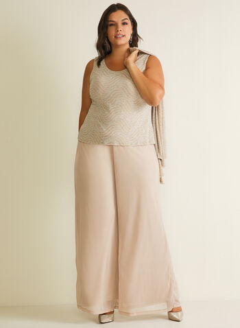 Marina - 3-Piece Evening Set, Pink,  ensemble, set, evening, top, cardigan, pants, open front, wave motif, wide leg, metallic knit, sleeveless, chiffon, spring summer 2020