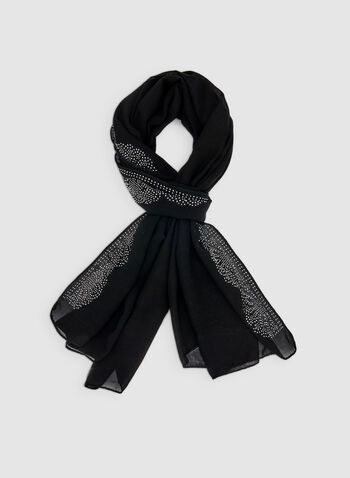 Beaded Scarf, Black, hi-res
