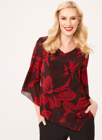 Asymmetric Floral Print Chiffon Top, Red, hi-res