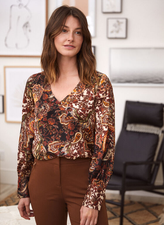 Paisley Print Tunic, Brown