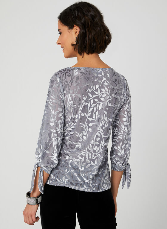 Velour Burnout Blouse, Silver, hi-res
