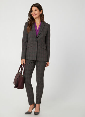 Notch Collar Blazer, Grey,  notch collar, long sleeves, plaid print, one button, 1 button, fall 2019, winter 2019