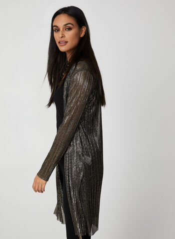 Mixed Metallic Open Front Top, Grey,  canada, glitter top, metallic top, open front, top, cardigan, duster, metallic, glitter, long sleeves, holiday top, fall 2019, winter 2019