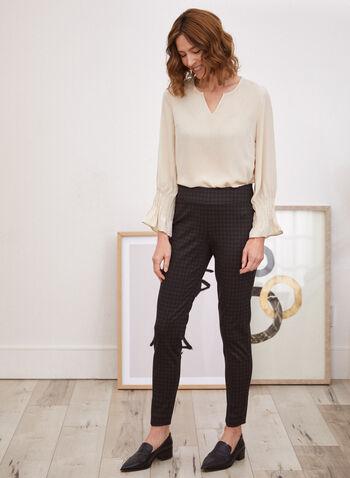 Pantalon à enfiler à carreaux, Brun,  pantalon, à enfiler, pull-on, jambe droite, motif, carreaux, automne hiver 2021, bas