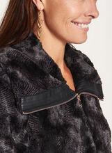 Novelti - Ombré Faux Fur Coat, Black, hi-res