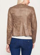Vex - Blazer drapé aspect cuir, Brun, hi-res
