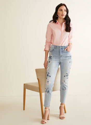 Floral & Rhinestone Detail Jeans, Blue,  jeans, slim leg, floral, rhinestones, pockets, high rise, stretchy, spring summer 2020