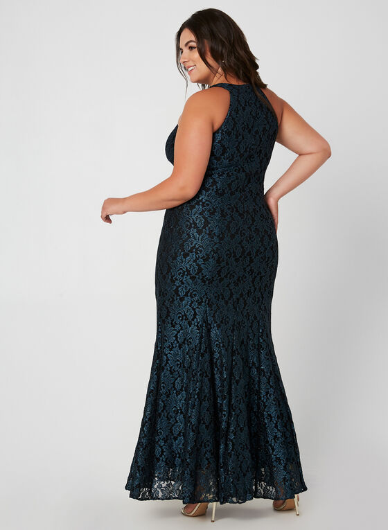 Glitter Lace Mermaid Gown, Green, hi-res