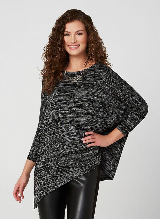 Haut asymétrique en tricot chiné, Noir, hi-res