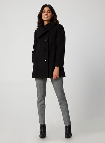 Oversized Collar Wool-Like Coat, Black,  fall coat, wool, envelope collar, side pockets, coat, large buttons, fall 2019