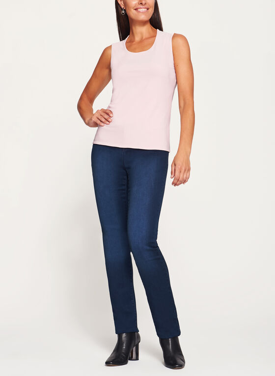 Sleeveless Scoop Neck Top, Pink, hi-res