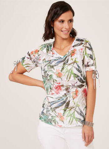Floral Leaf Burnout Print Top, White, hi-res