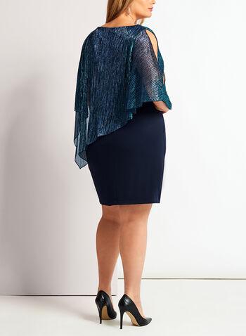 Cold Shoulder Metallic Poncho Dress, , hi-res