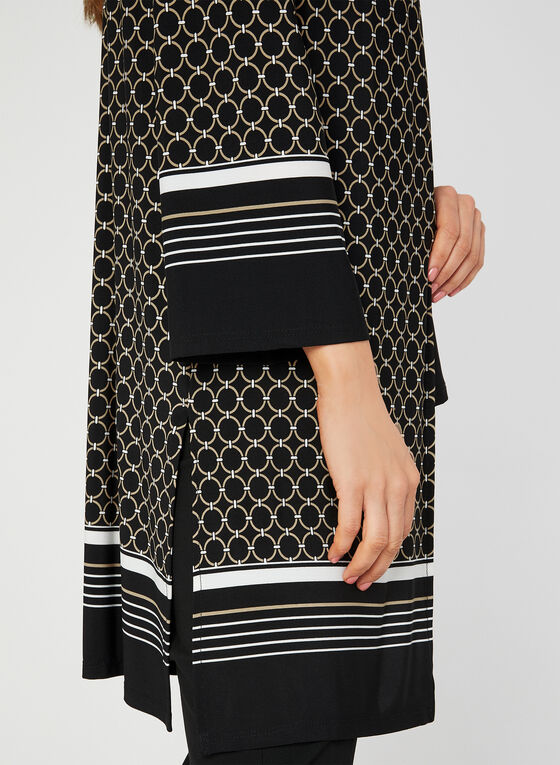 Geometric Print Jersey Duster, Black, hi-res
