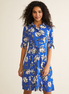 Floral Print Shirt Collar Dress, Blue