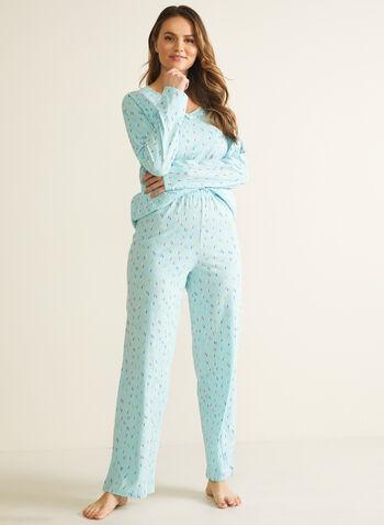Confetti Print Pyjama Set, Blue,  pyjama, set, 2-piece, confetti, v-neck, fall winter 2020