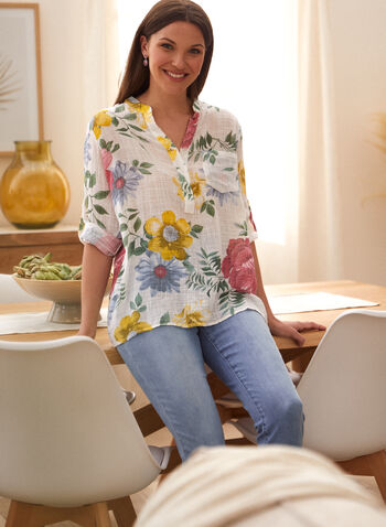 Charlie B - Printed Popover Shirt, Red,  spring summer 2021, Charlie B, designer, brand, stripe print, striped, printed, popover, shirt, blouse, half button down, split neck, V neck, 3/4 sleeve, roll up sleeve, tunic