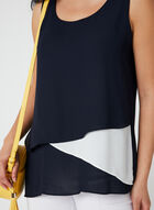 Asymmetric Crepe Top, Blue, hi-res