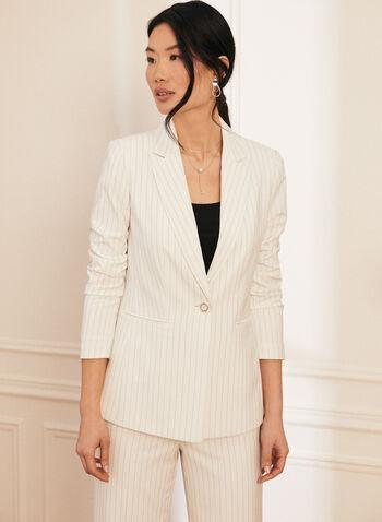 Veste rayée à un bouton, Blanc,  costume, ensemble, veste, blazer, motif à rayures, imprimé à rayures, bouton, fausses poches, manches longues, col cranté, printemps été 2021