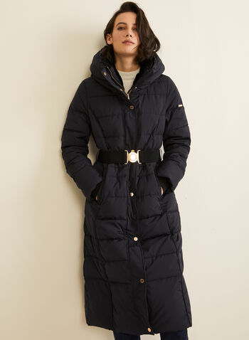 Novelti - Long Quilted Coat With Hood , Blue,  coat, long, quilted, down, feather, hood, fall winter 2019