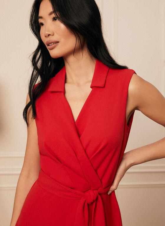 Johnny Collar Crossover Dress, Red