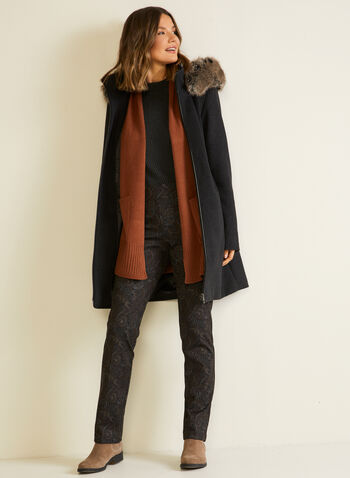 Mid Length Cardigan With Pockets, Brown,  fall winter 2020, cardigan, open, long sleeves, pockets, knit, holiday
